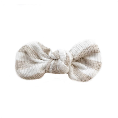 Knotted Bow Clip, Oatmeal Stripe