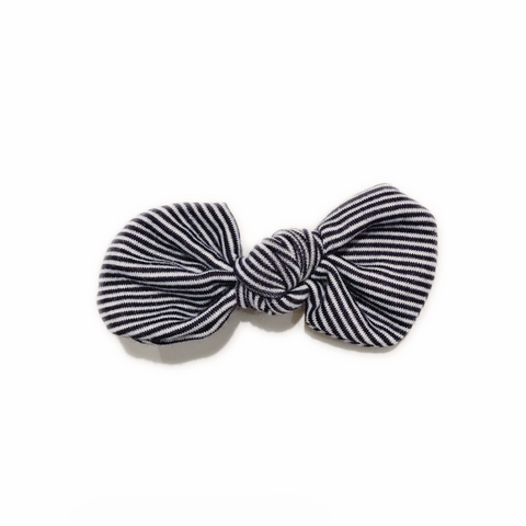 LAST ONE! Knotted Bow Clip, Thin Navy Stripe