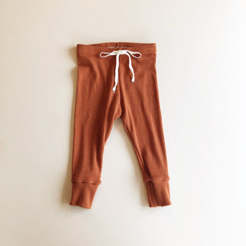 Rib Knit Leggings, Rust