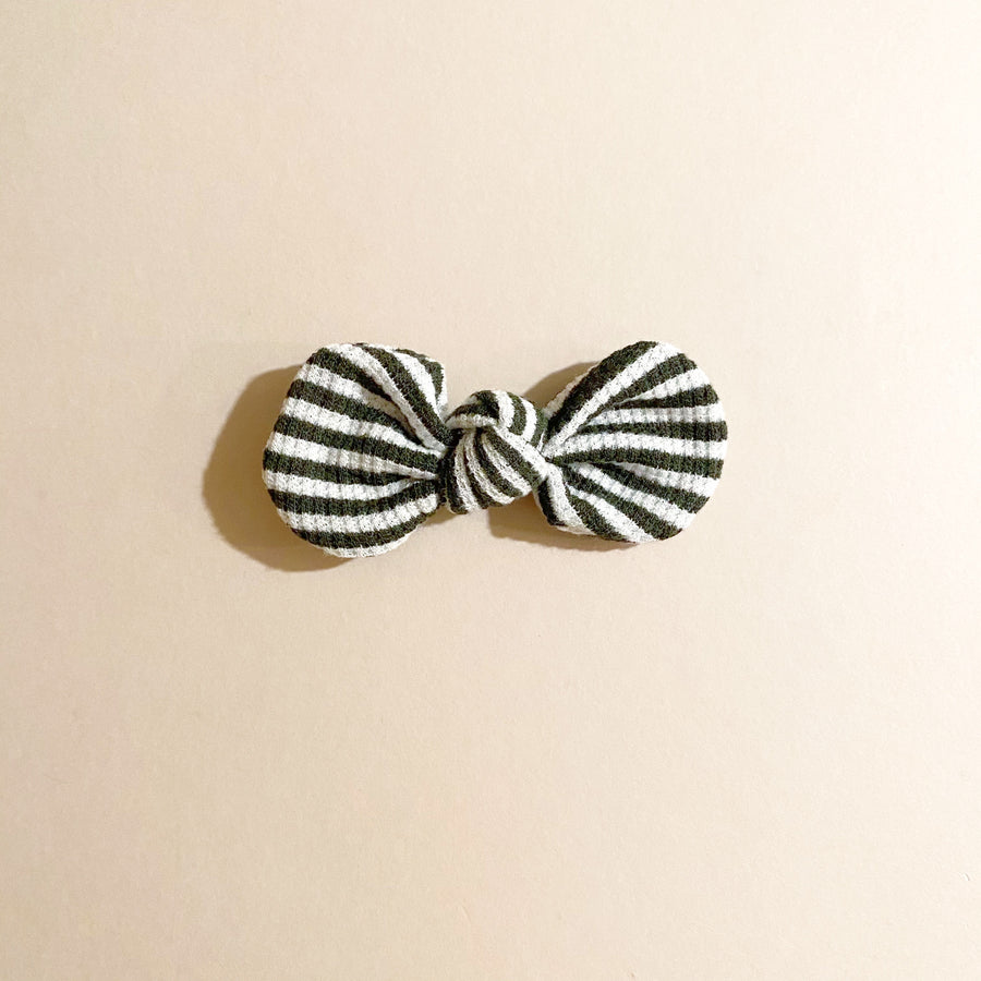 LAST ONE! Knotted Bow Clip, Dark Green Stripe