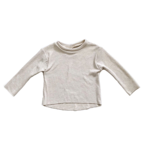 Relaxed Long Sleeve Thermal Tee, Oatmeal Stripe