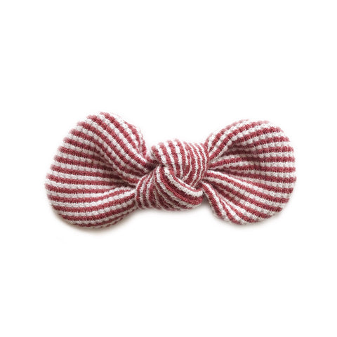Knotted Bow Clip, Brick Stripe
