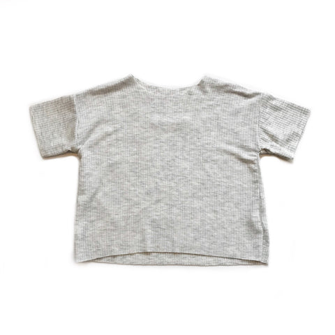 Boxy Rib Knit Tee, Light Heather Grey