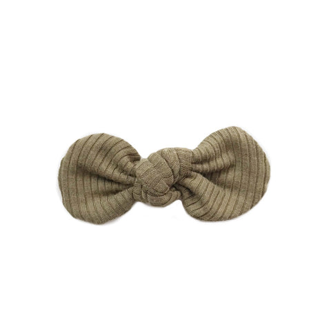 Knotted Bow Clip, Ribbed Light Olive