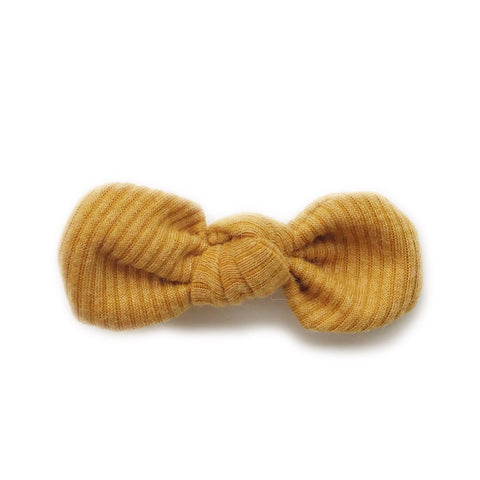 Knotted Bow Clip, Ribbed Mustard