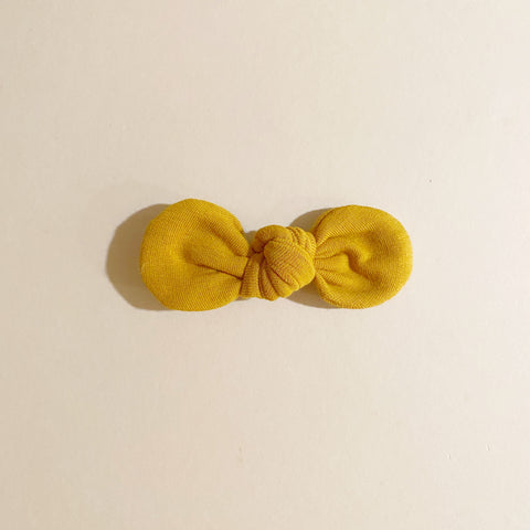 LAST ONE! Organic Knotted Bow Clip, Mustard Terry
