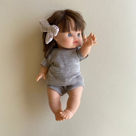 Doll: Ribbed Tee Set, Taupe