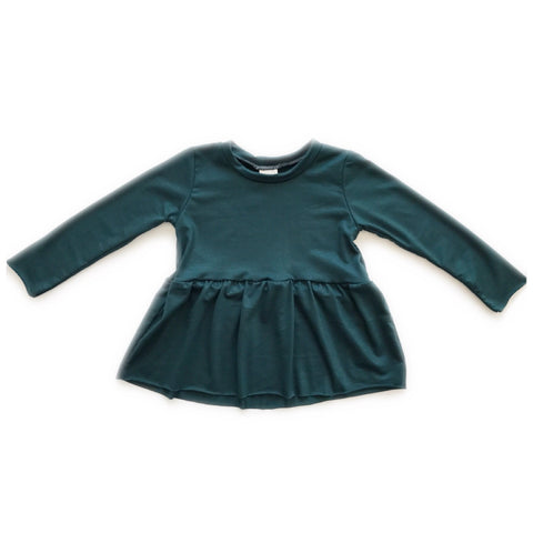 Peplum Long Sleeve, Raw Hem, Emerald