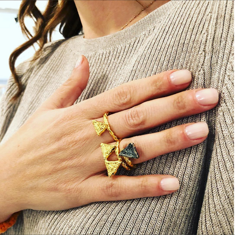 Tri Double ring in gold worn on hand designed by Alexandra Koumba