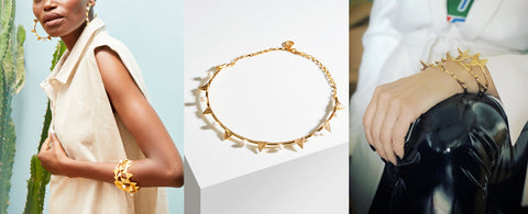 New collection ss19 jewelry banner with 3 ways to wear the gold lace bangles  by Alexandra Koumba
