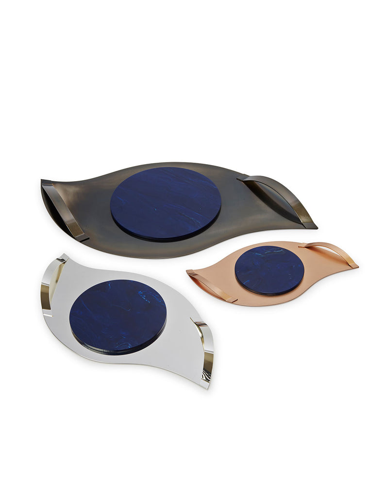 Eye Cut tray silver plated with Stone designed by Alexandra Koumba