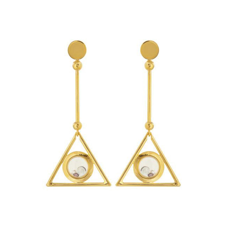 Egyptian Floating Earrings in Gold Design by Alexandra Koumba