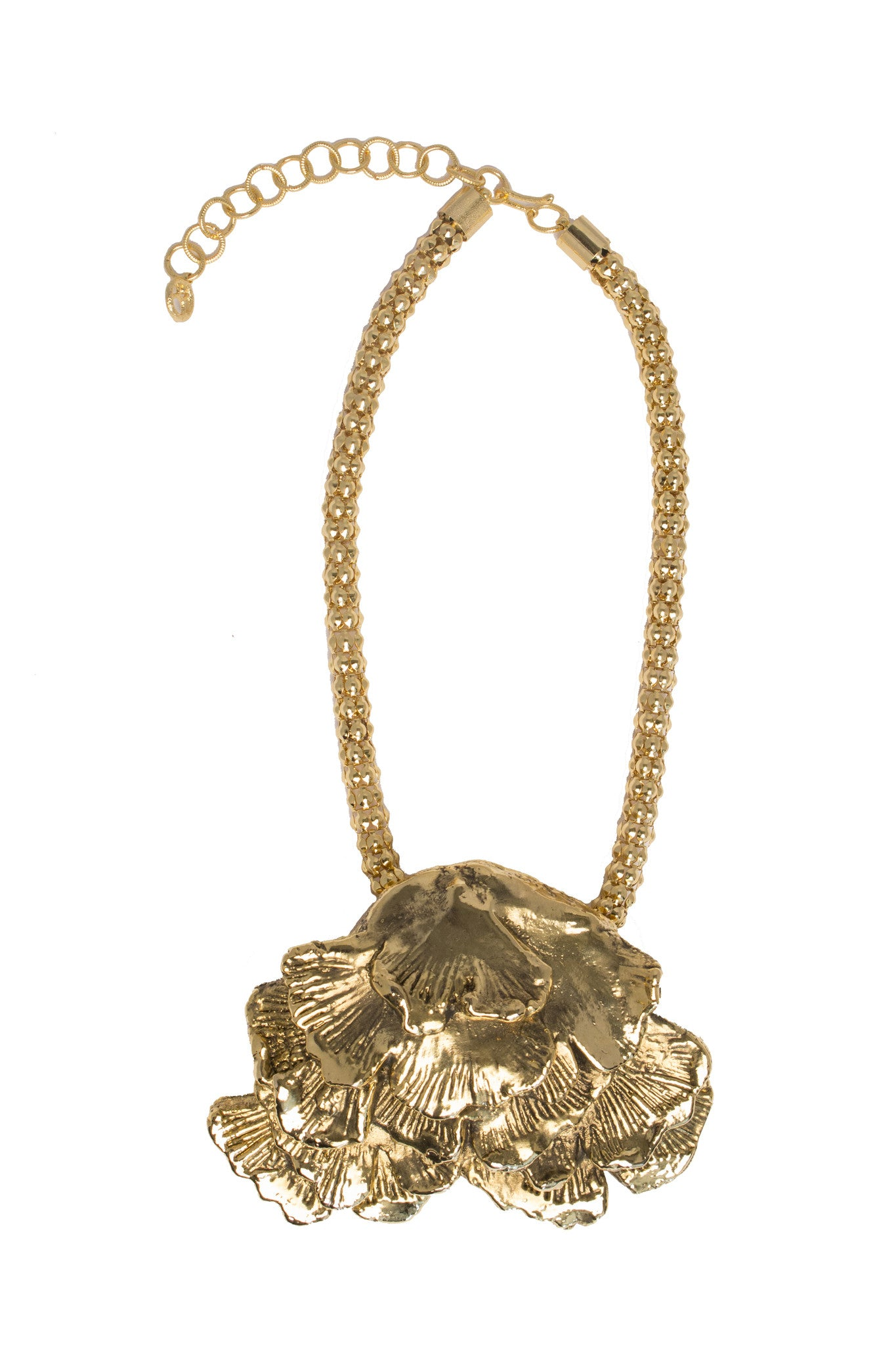 seaweed in gold plated necklace and chain Designed by Alexandra Koumba