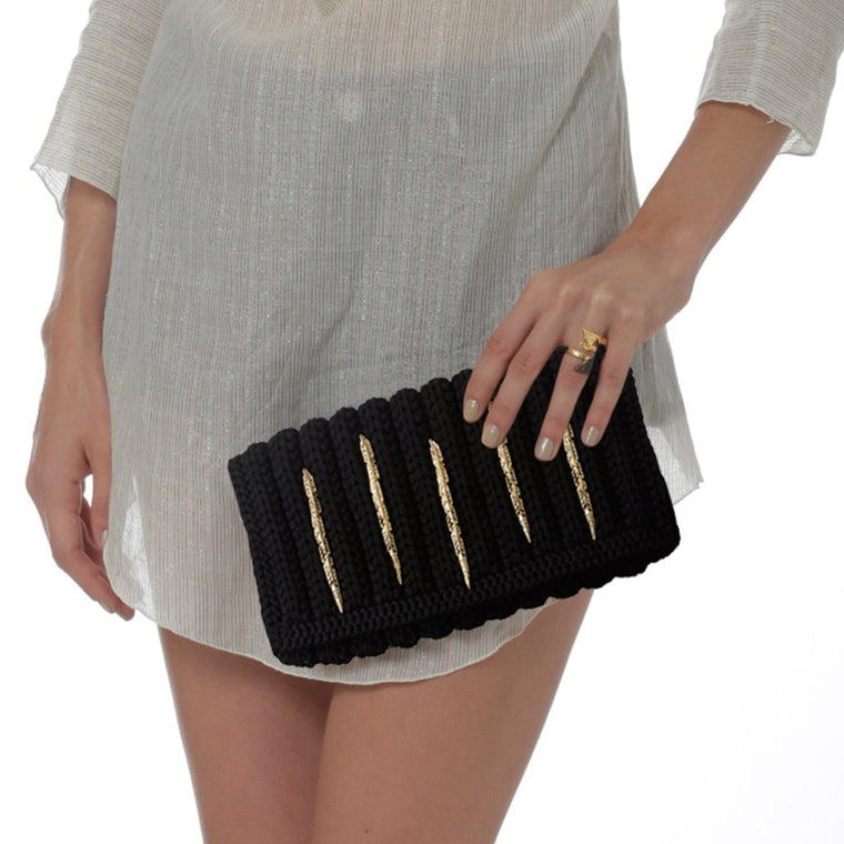 feather clutch-black/gold-designed by alexandra koumba