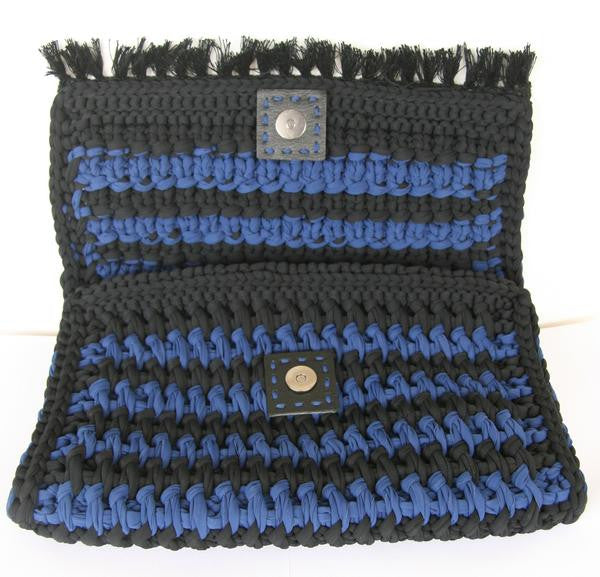 moroccan clutch bag in cobalt blue and black designed by alexandra koumba