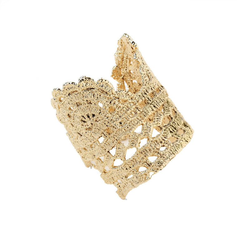Timothea lace cuff in gold Designed by Alexandra Koumba