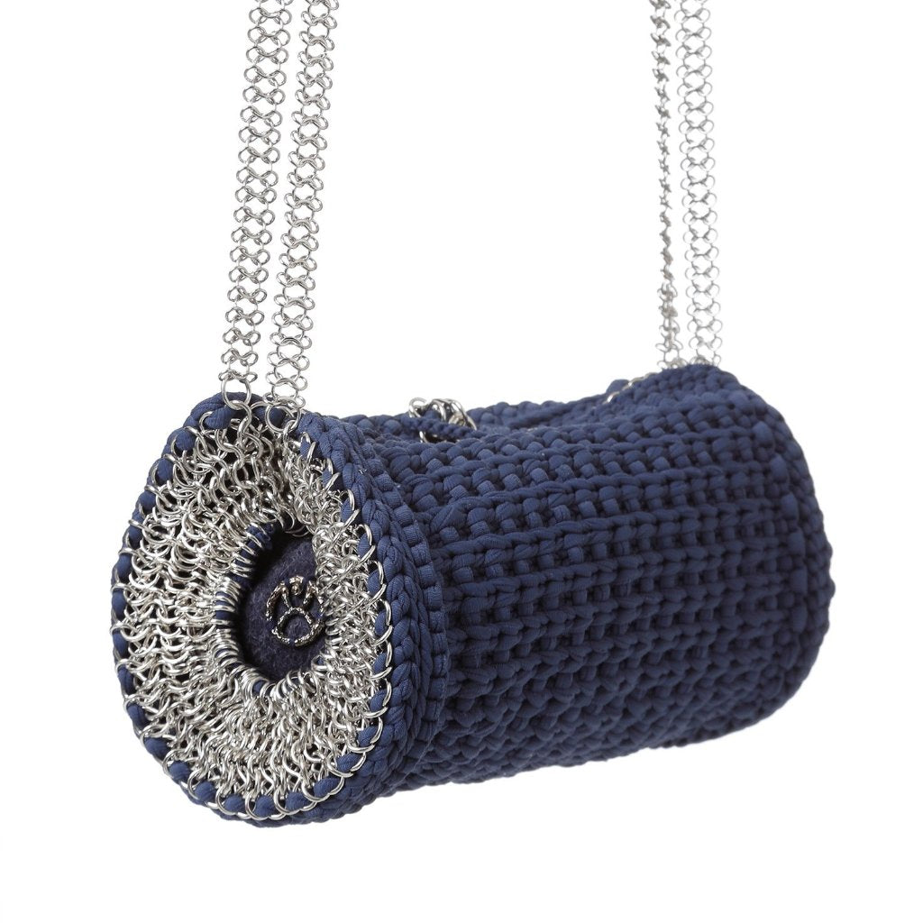 Weaved barrel Navy blue with silver chain designed by Alexandra koumba