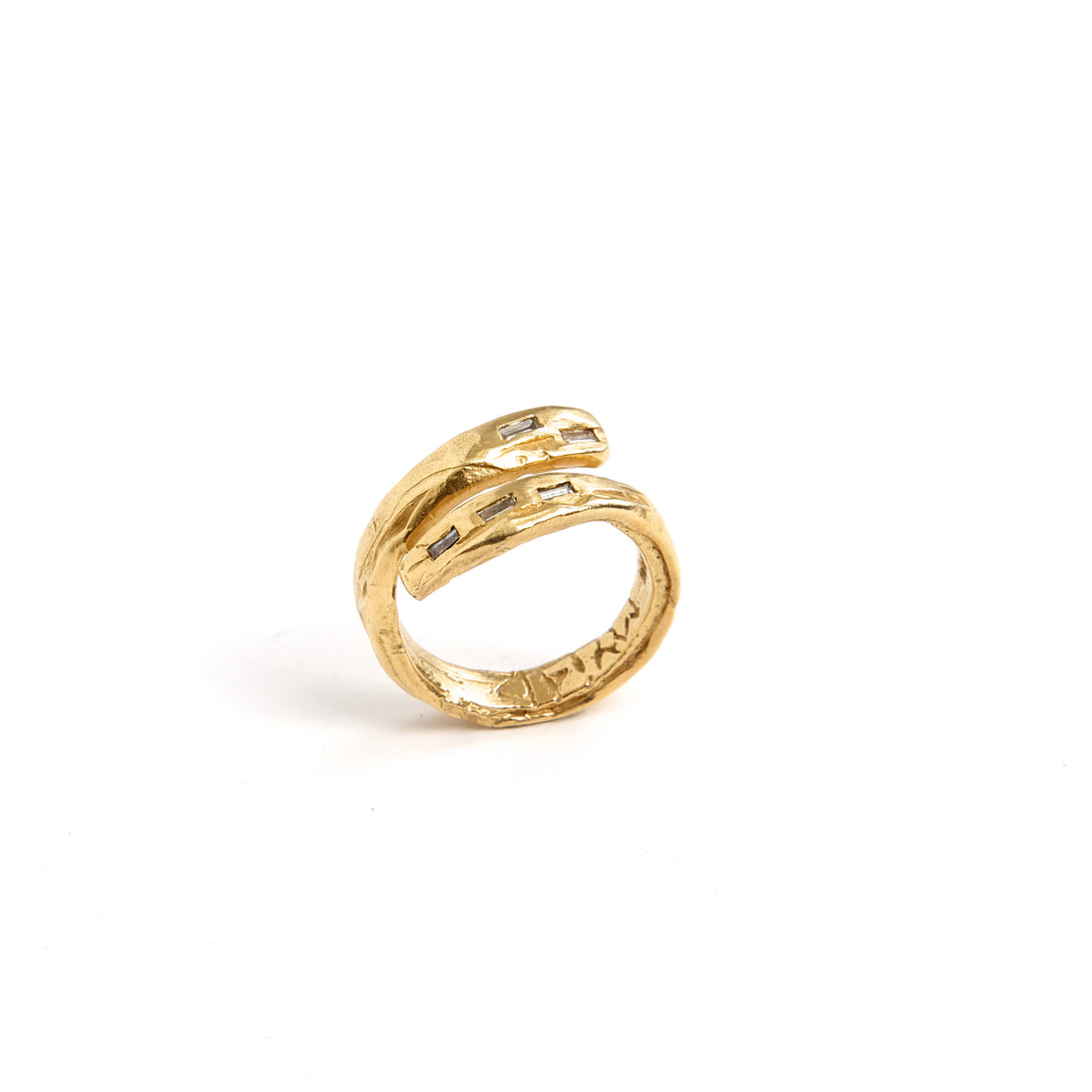 Spine Ring in gold with Five Diamond Baguettes Design by Alexandra Koumba