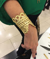 Avalon Cuff- in gold lace-designed by alexandra koumba