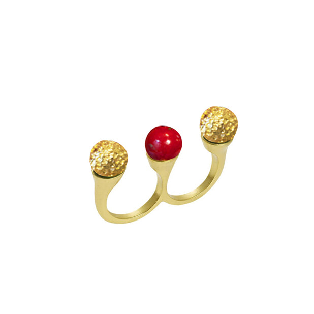 Double seed Ring Coral designed by alexandra koumba