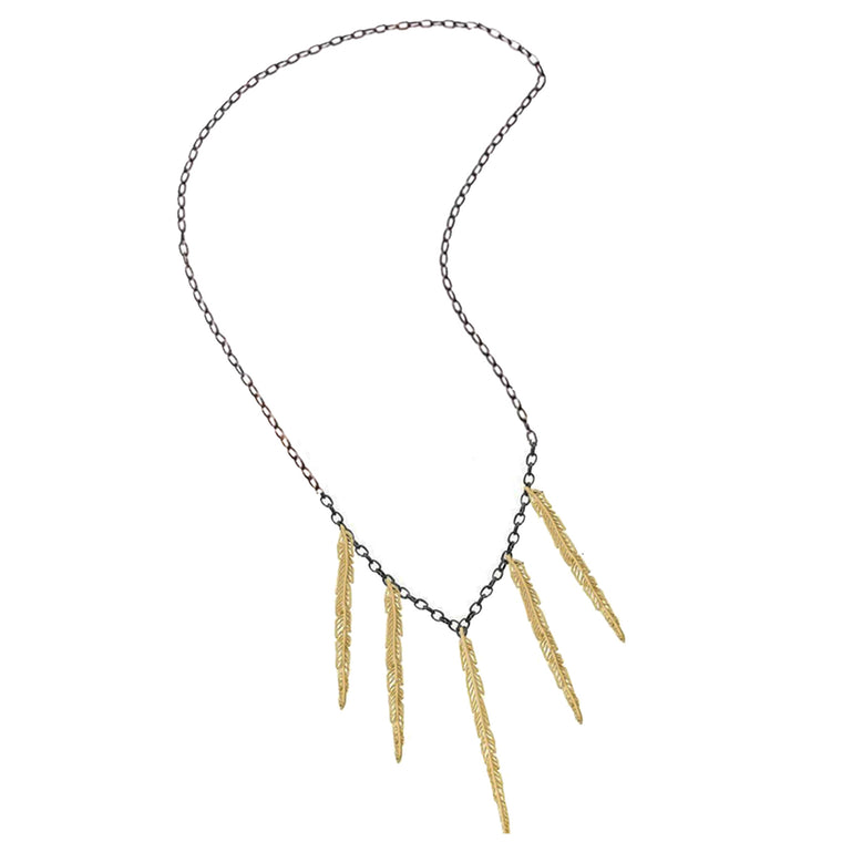feather multi pendant-gold/black-designed by alexandra koumba