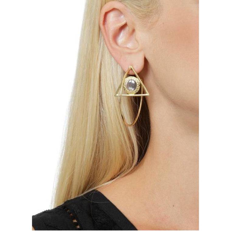 Floating egyptian hoop earring in 14k or 18k gold Design by Alexandra Koumba