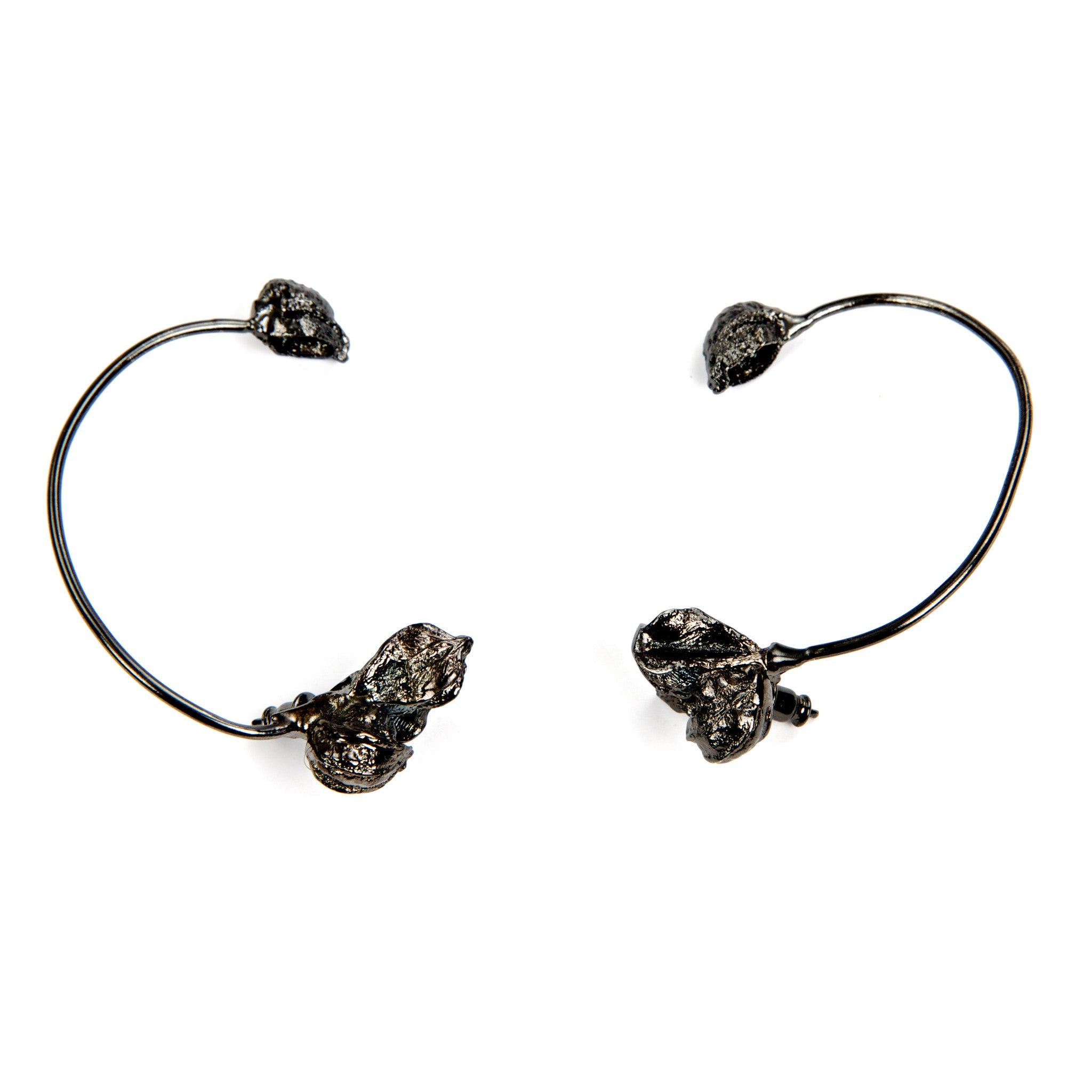 Karpoi Ear Cuffs in Gun Metal Design by Alexandra Koumba