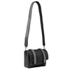 Signature Messenger bag by Alexandra Koumba in black leather and silver chain, cross body, full strap view
