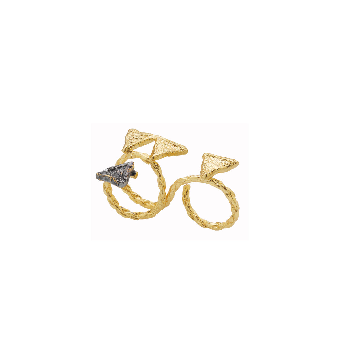 Tri DBsnake ring-gold/black-designed by alexandra koumba