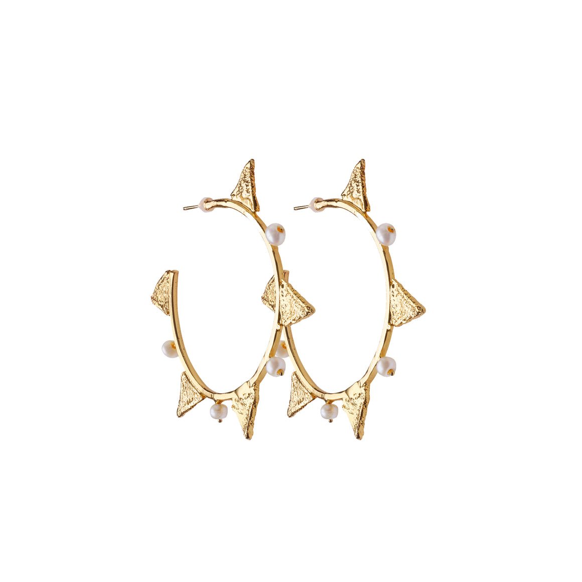 Tri Hoop Pearl Earrings - Alexandra Koumba Designs