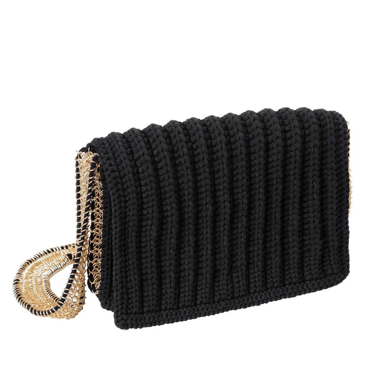 weaved chain bag-black/gold-designed by alexandra koumba