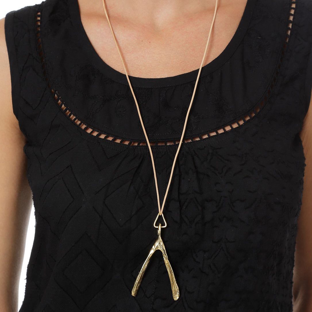 Leather Turkey Pendant in Gold with leather cord Design by Alexandra Koumba