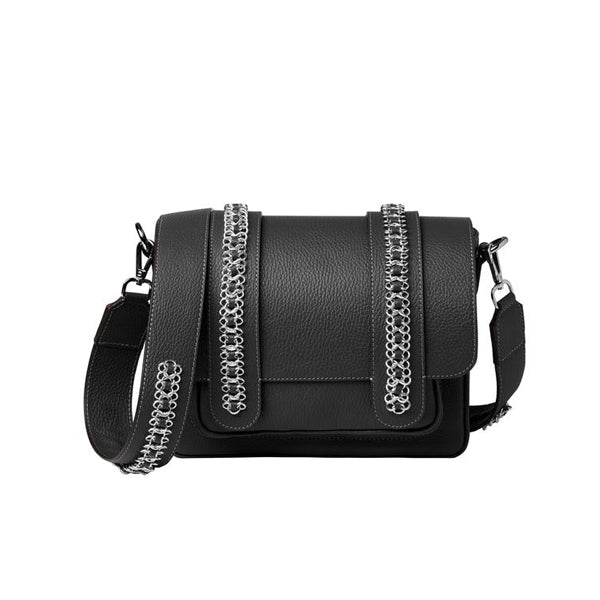 Signature Messenger bag by Alexandra Koumba in black leather and silver chain, cross body, size view