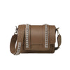 Signature Messenger bag by Alexandra Koumba in taupe leather and silver chain, cross body, front view