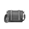 Signature Messenger bag by Alexandra Koumba in mouse grey leather and silver chain, cross body, front side