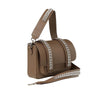 Signature Messenger bag by Alexandra Koumba in taupe leather and silver chain, cross body, side view
