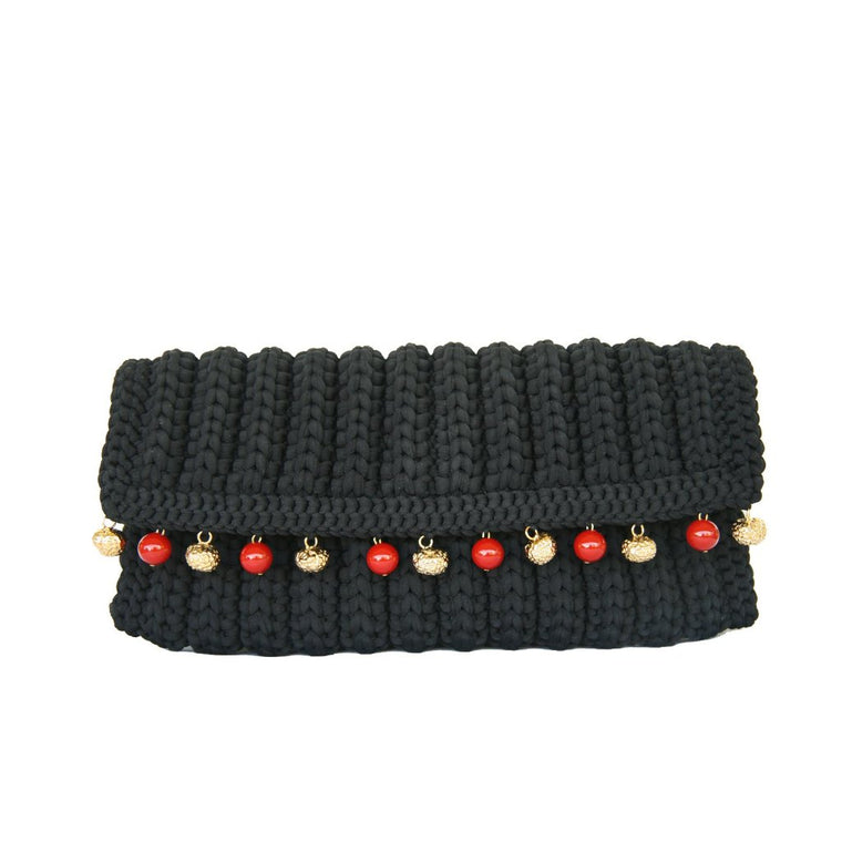 seville clutch with stones-black/coral-designed by alexandra koumba