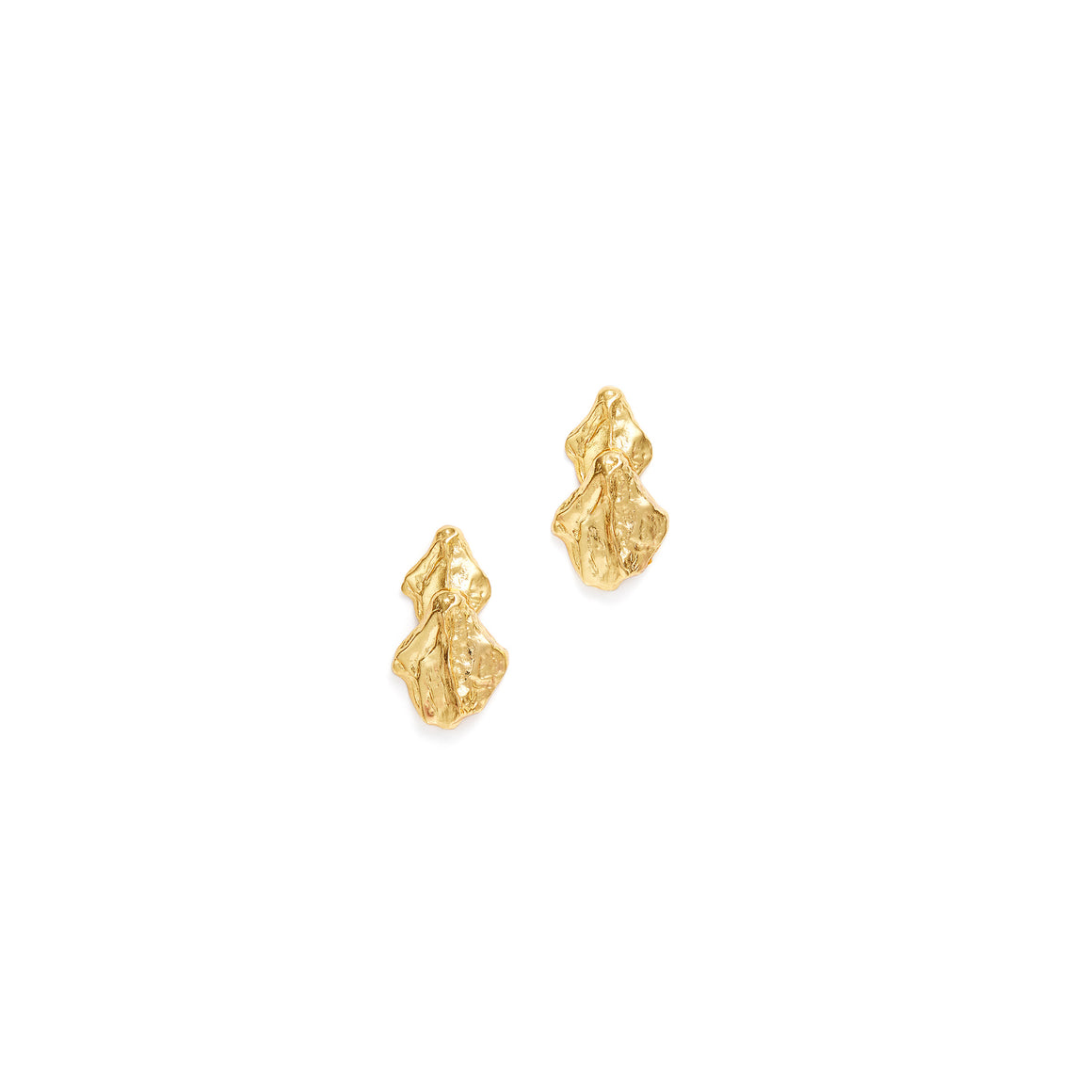 spine short earrings in gold designed by alexandra koumba