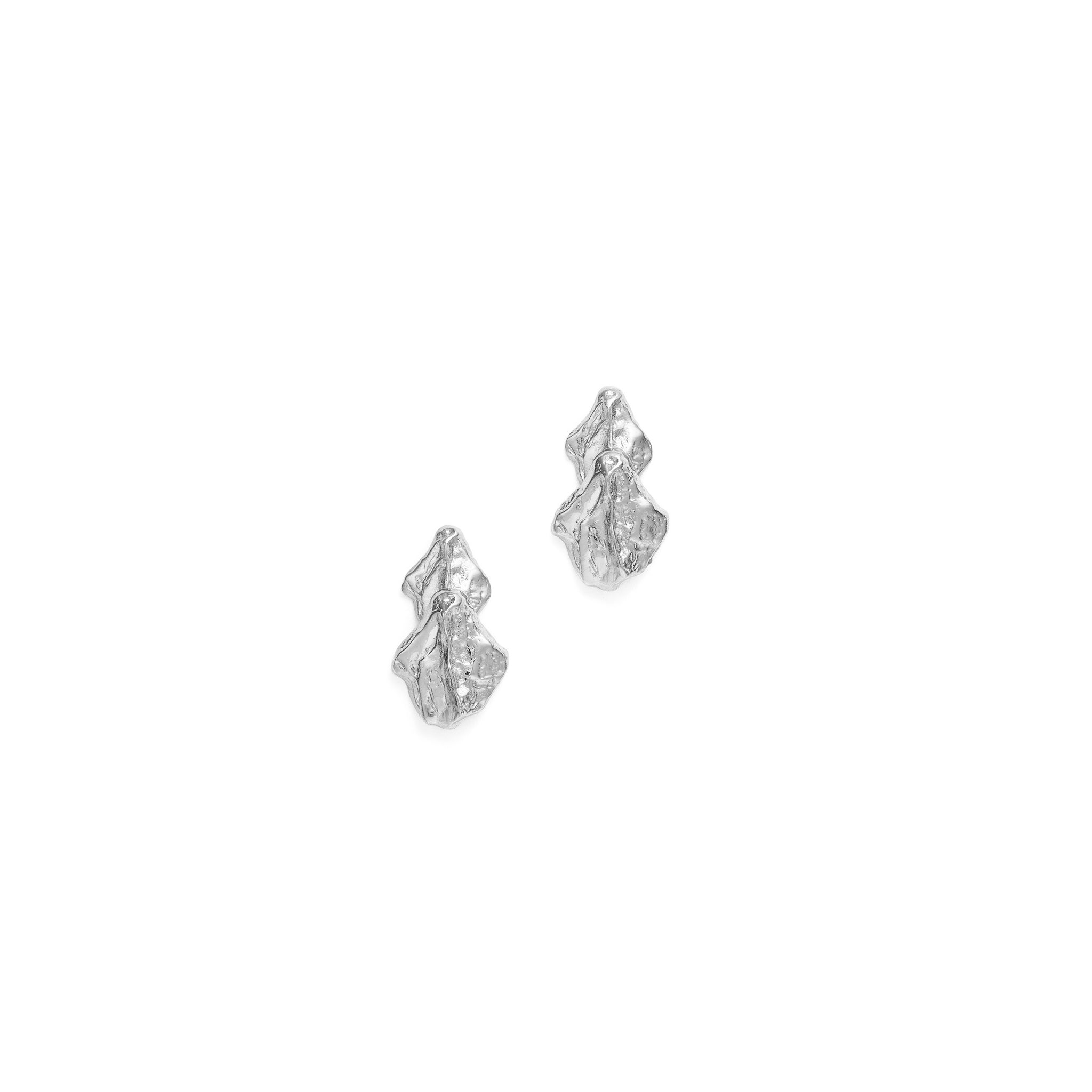 spine short earrings in  silver designed by alexandra koumba