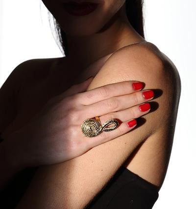 Spiral Chinese Knot Ring in Gold Design by Alexandra Koumba