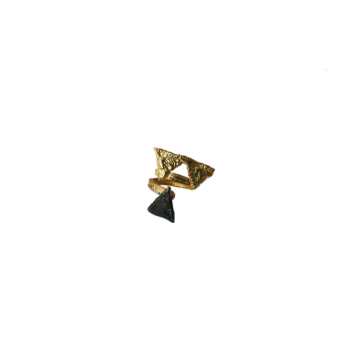 Tri snake ring-gold/black-designed by alexandra koumba