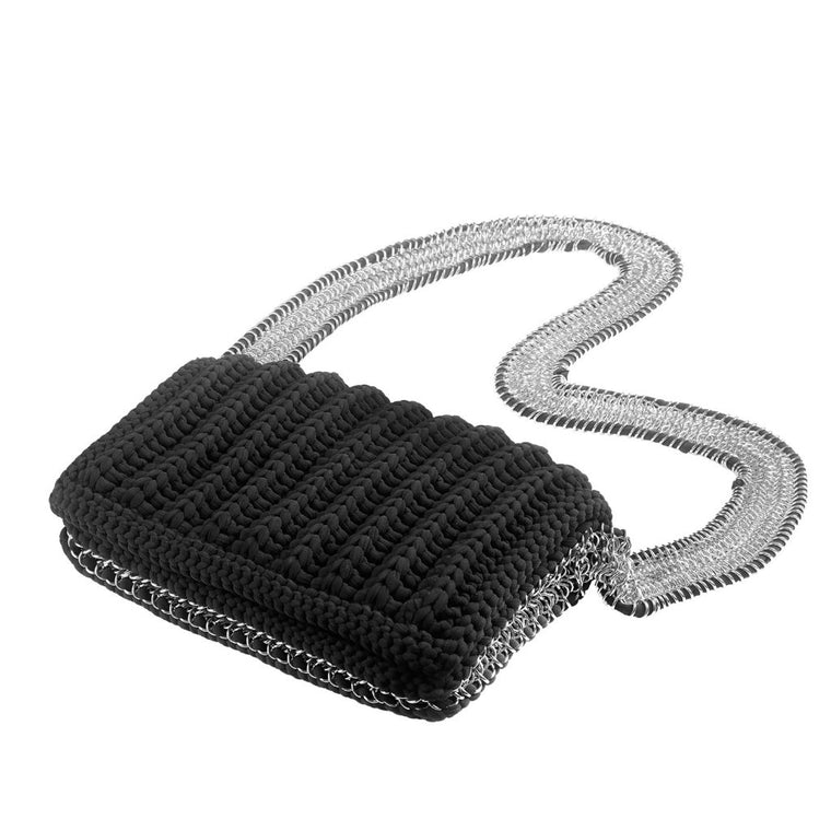 weaved chain bag-black/silver-designed by alexandra koumba