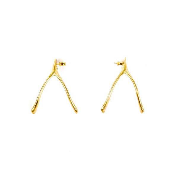 Wishbone Earrings in Gold Design by Alexandra Koumba