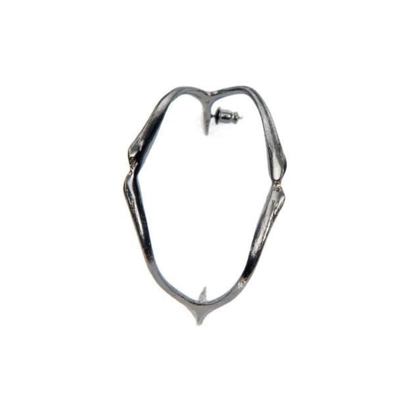 Wishbone Hoops in gun metal Design by Alexandra Koumba