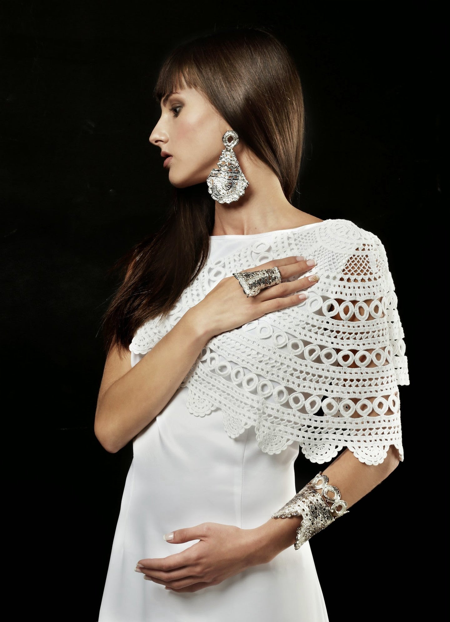 Morgana lace earrings and Timothea Lace cuff by Alexandra Koumba