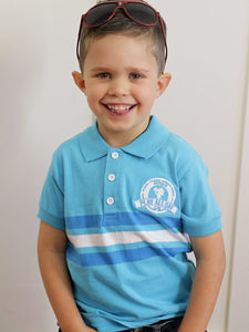 Play All Day Club Boys Blue and White Polo Tee