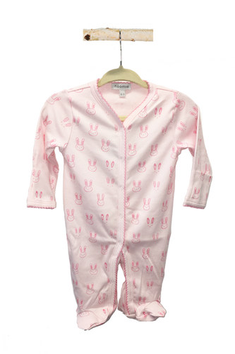 Snap Footie V-Neck Pink Bunnies