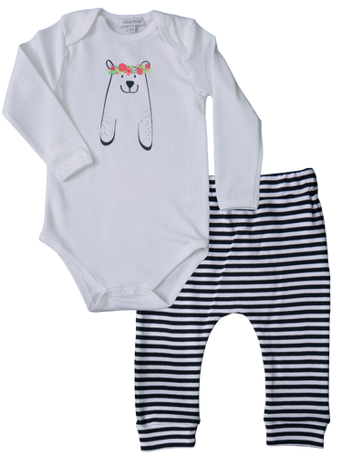 Pant/Onesie Set Navy Bears with Flowers