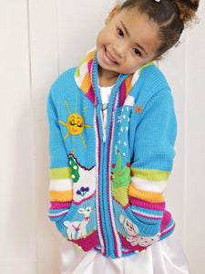 Girls Sky Blue Knit Cardigan