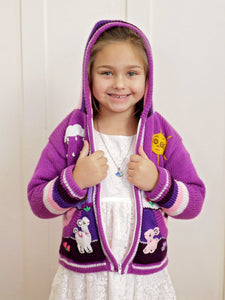 Girls Purple Knit Cardigan